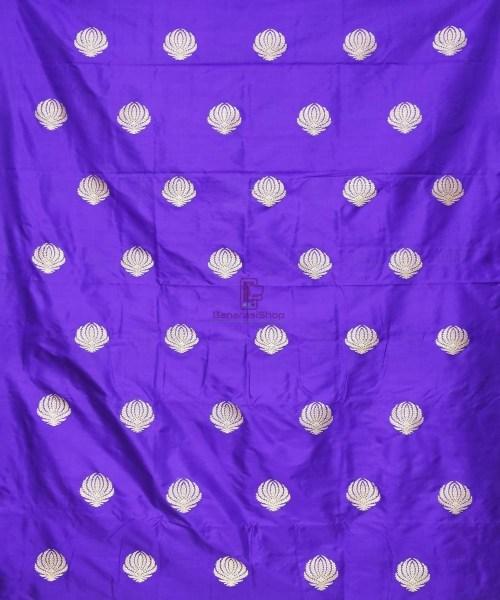 Banarasi Pure Handloom Katan Silk Fabric in Berry Blue 3