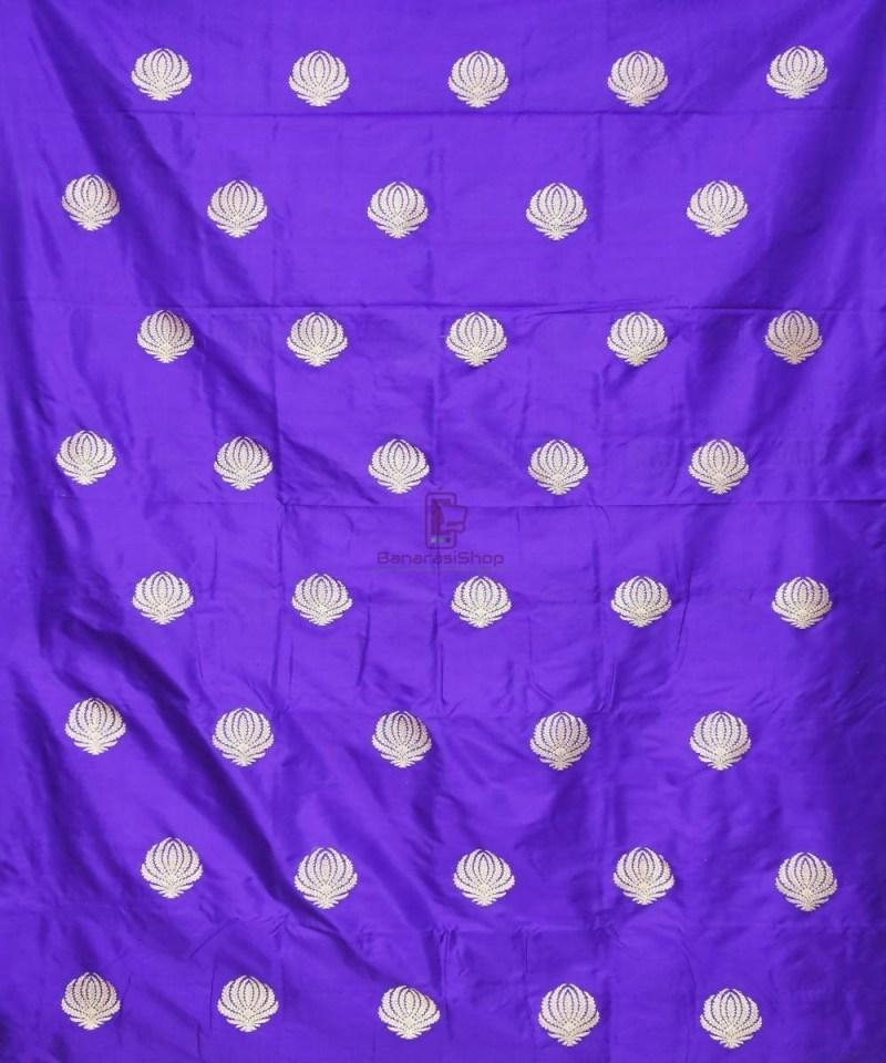 Banarasi Pure Handloom Katan Silk Fabric in Berry Blue 2