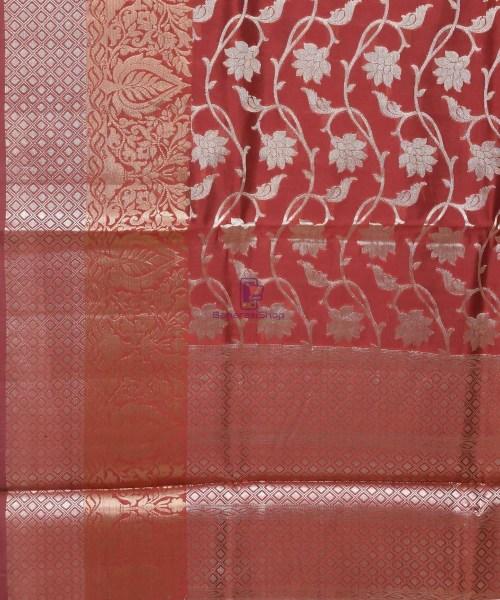 Pure Silk Banarasi Dupion Katan Handloom Saree in Rosewood 5