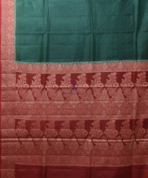 Woven Pure Tussar Silk Banarasi Saree in Dark Green 5
