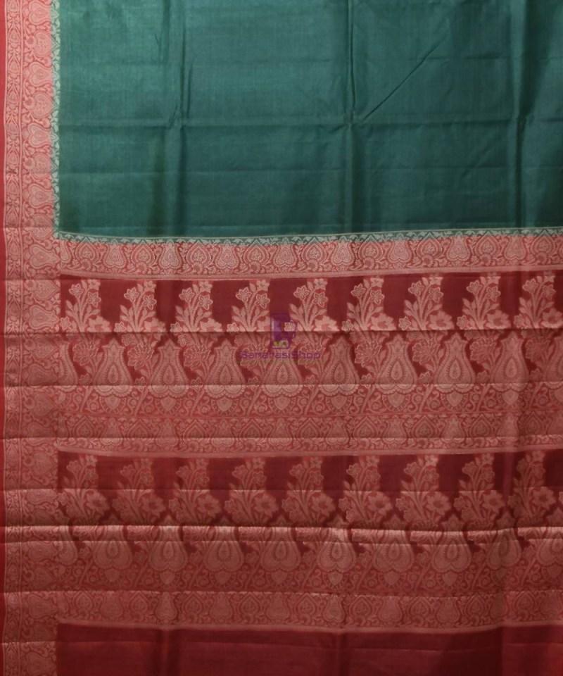 Woven Pure Tussar Silk Banarasi Saree in Dark Green 2