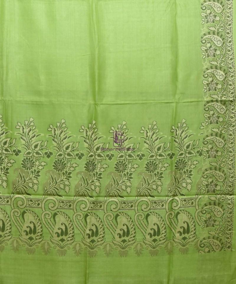 Woven Pure Tussar Silk Banarasi Saree in Pear Green 2