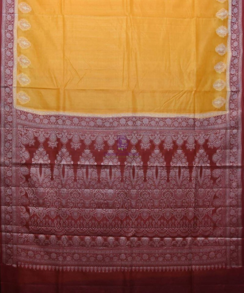 Woven Pure Tussar Silk Banarasi Saree in Mustard Yellow 1