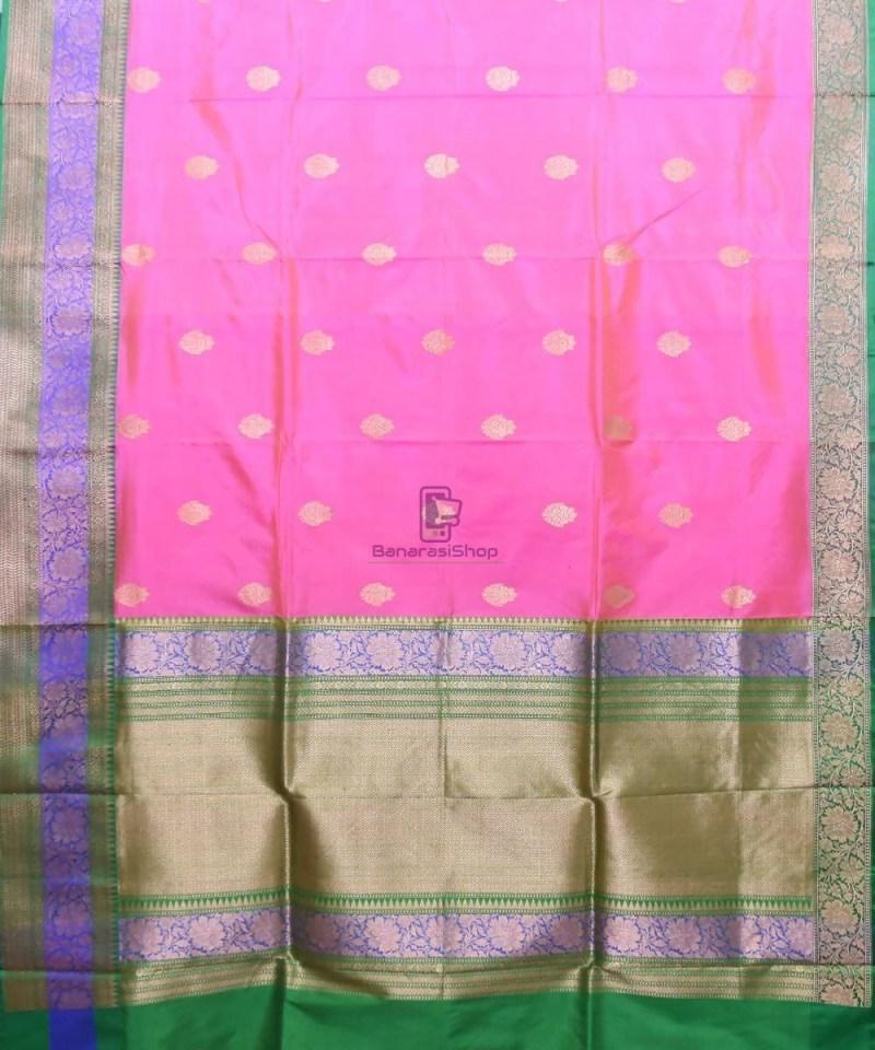 Banarasi Pure Katan Silk Handloom Pink Saree 1