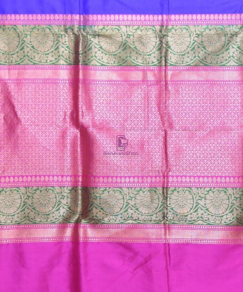 Banarasi Pure Katan Silk Handloom Navy Blue Saree 6