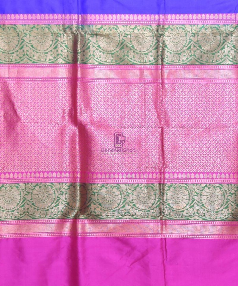 Banarasi Pure Katan Silk Handloom Navy Blue Saree 3
