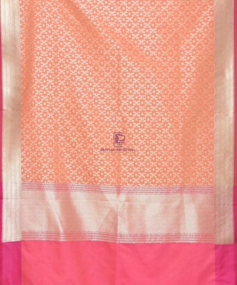 Woven Banarasi Art Silk Dupatta in Peach Pink 2