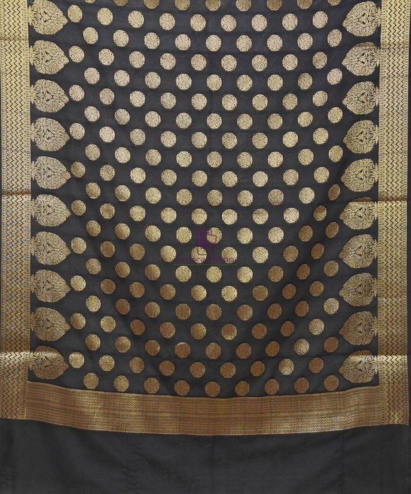 Woven Banarasi Art Silk Dupatta in Black 2