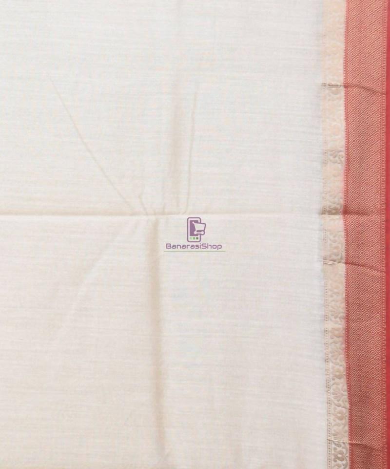 Woven Pure Muga Silk Banarasi Saree in Bone White 4