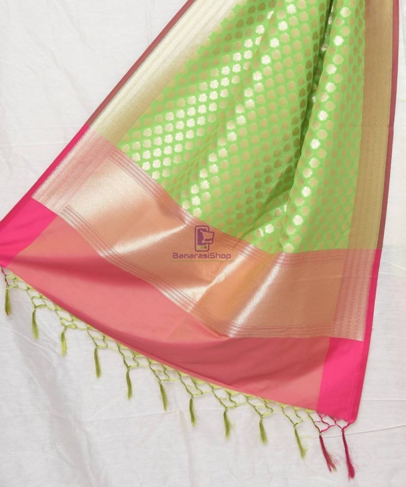 Woven Banarasi Art Silk Dupatta in Lime Green 1
