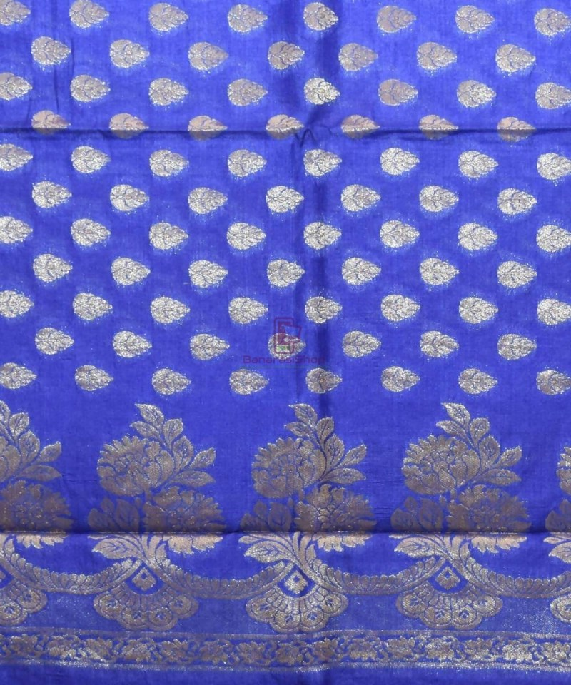 Woven Pure Tussar Silk Banarasi Saree in Azure Blue 3