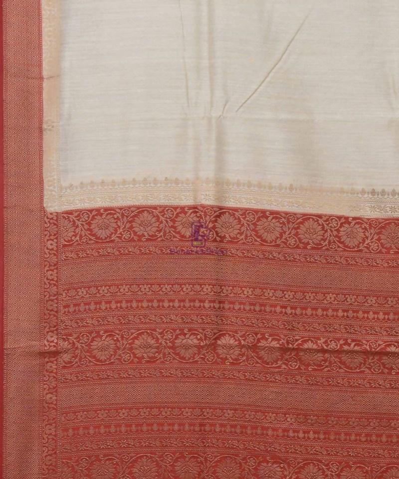 Woven Pure Muga Silk Banarasi Saree in Bone White 2
