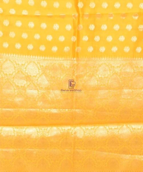 Pure Silk Banarasi Dupion Katan Handloom Saree in Yellow 6