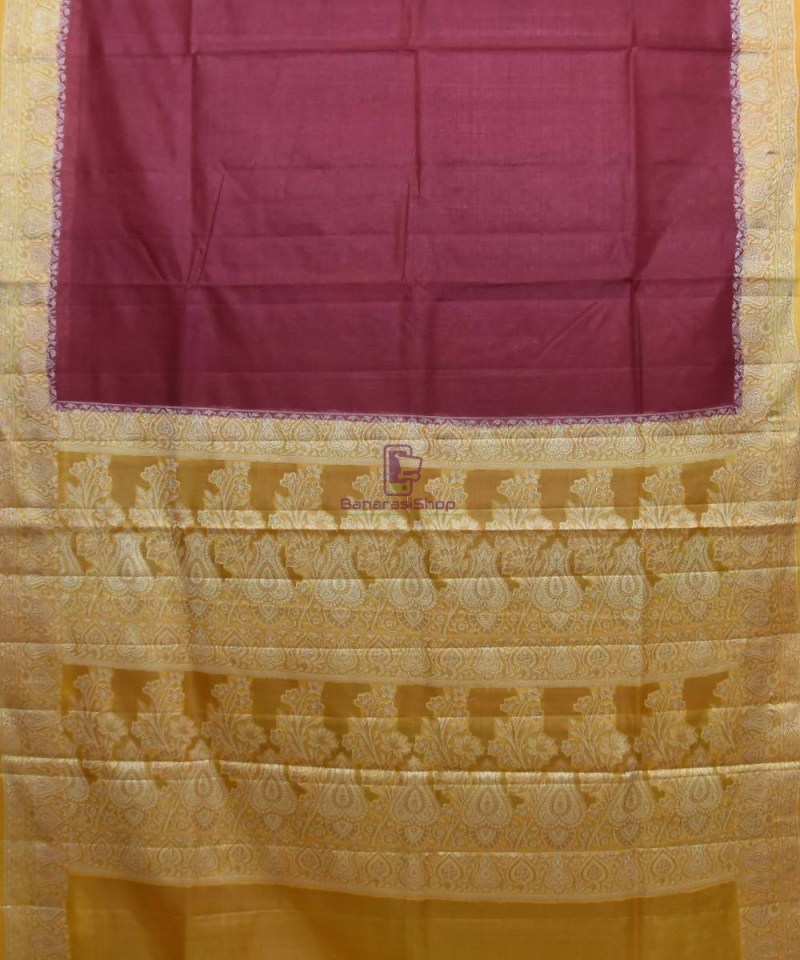 Woven Pure Tussar Silk Banarasi Saree in Dark Mauve 1