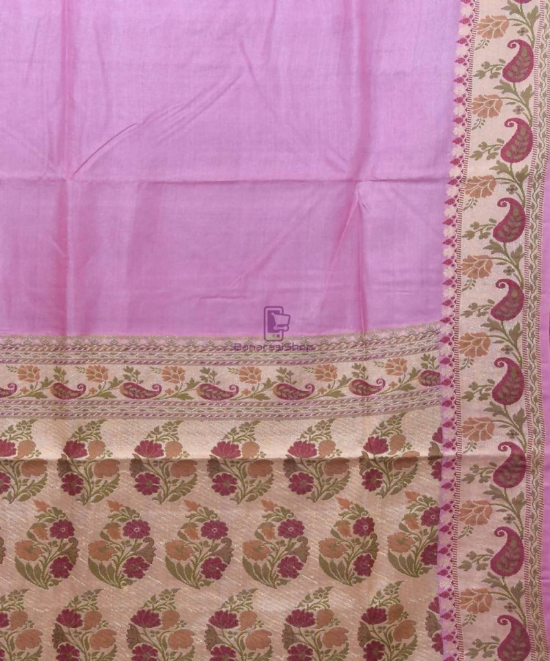 Woven Pure Tussar Silk Banarasi Saree in Lilac Purple 2
