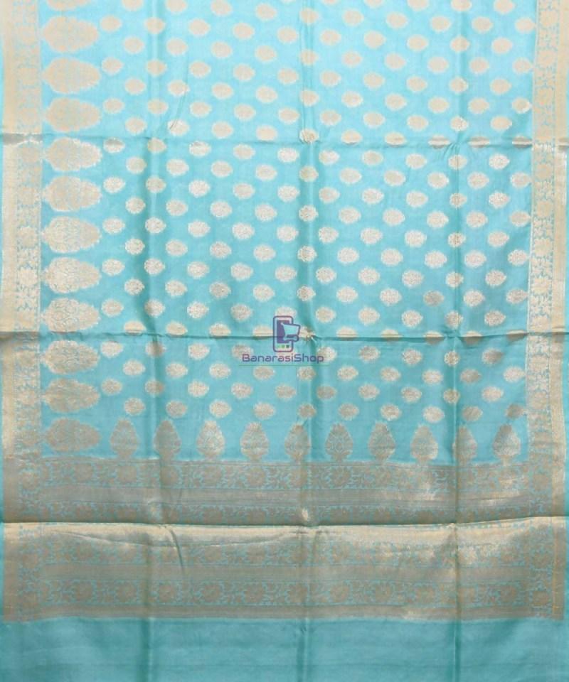 Woven Pure Tussar Silk Banarasi Saree in Sky Blue 1