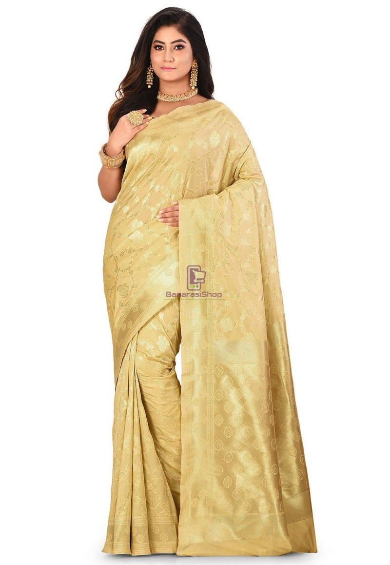 Banarasi Saree in Beige 1