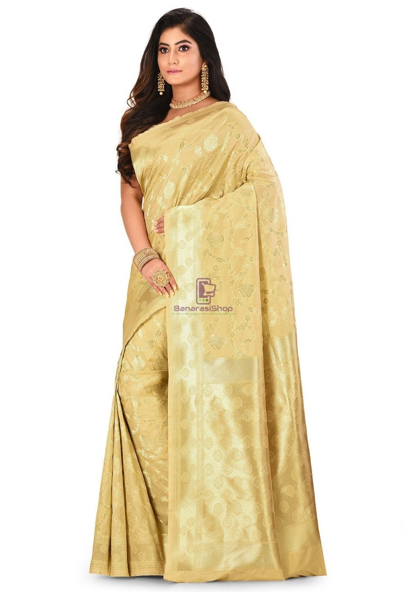 Banarasi Saree in Beige 4