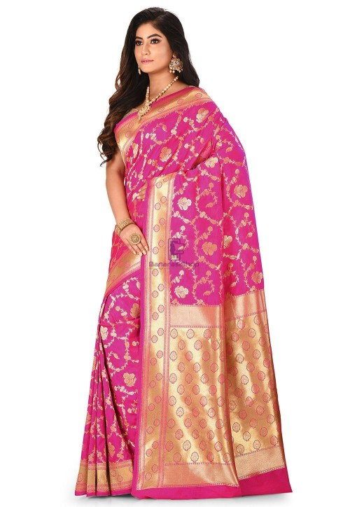 Banarasi Saree in Fuchsia 7