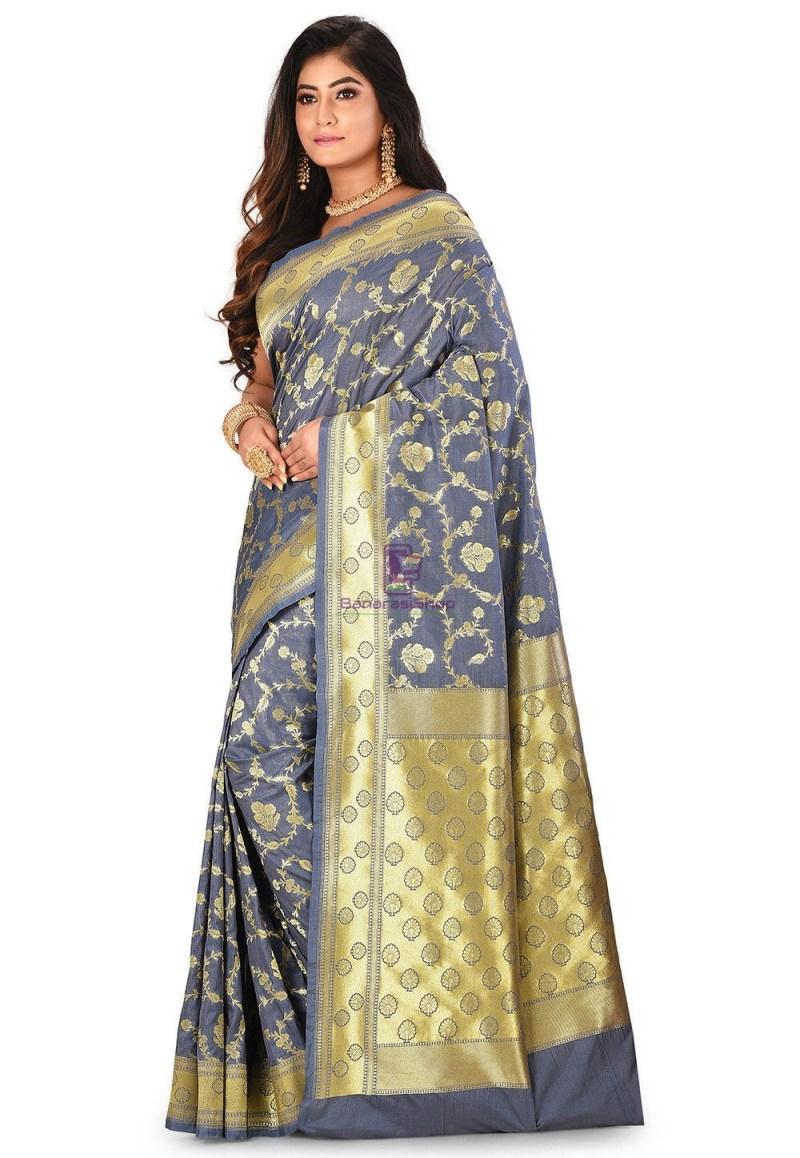 Banarasi Saree in Grey 4