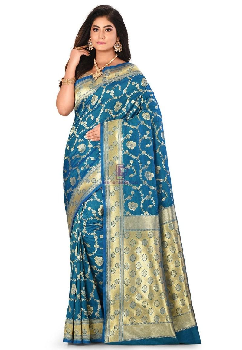Banarasi Saree in Teal Blue 1