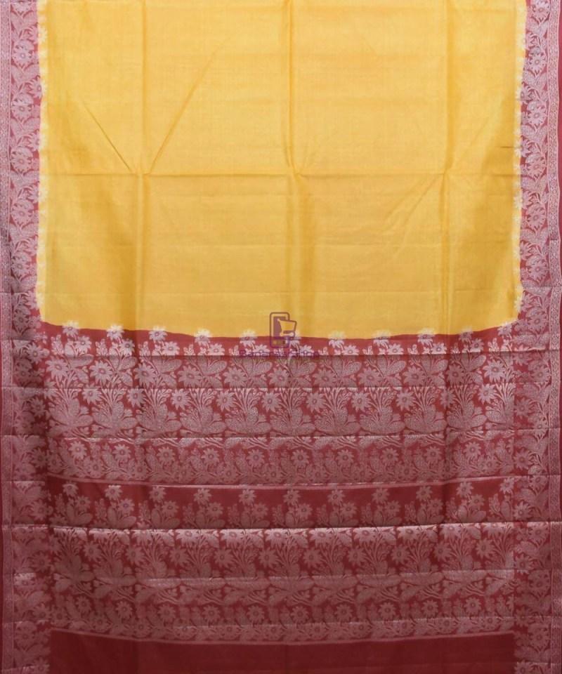 Woven Pure Tussar Silk Banarasi Saree in Butter Yellow 1
