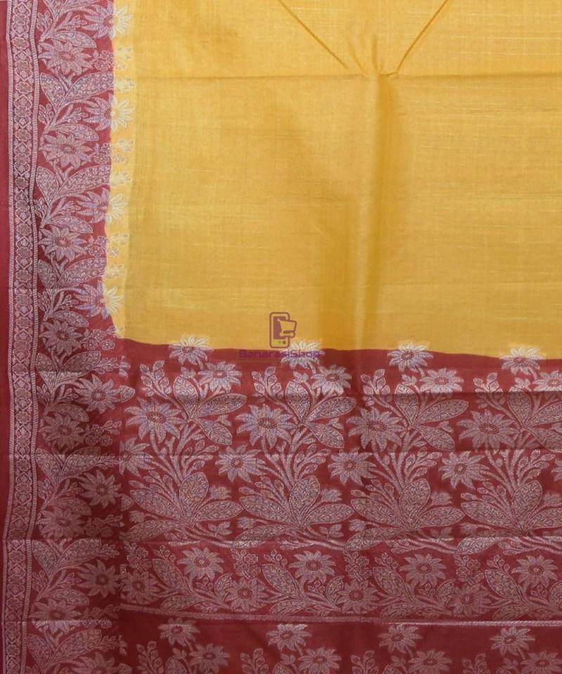 Woven Pure Tussar Silk Banarasi Saree in Butter Yellow 2