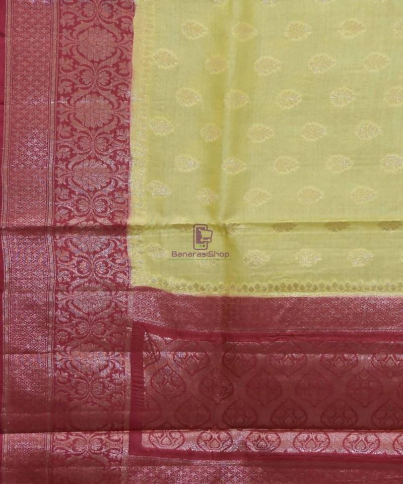 Woven Pure Tussar Silk Banarasi Saree in Olive Green 2