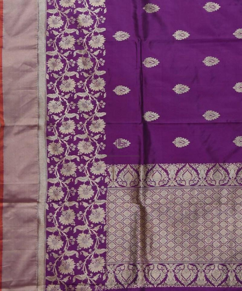 Banarasi Pure Katan Silk Handloom Purple Saree 2