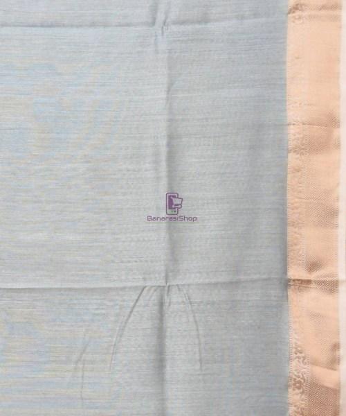 Woven Pure Muga Silk Banarasi Saree in Stone Blue 7