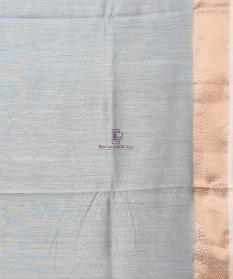 Woven Pure Muga Silk Banarasi Saree in Stone Blue 4