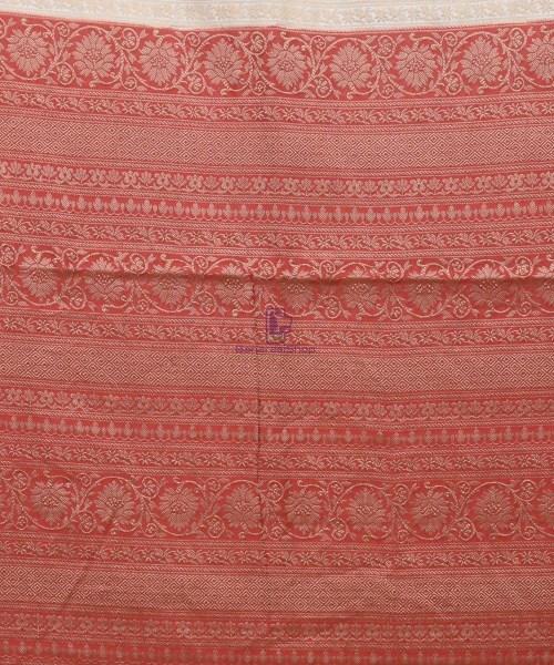Woven Pure Muga Silk Banarasi Saree in Bone White 6