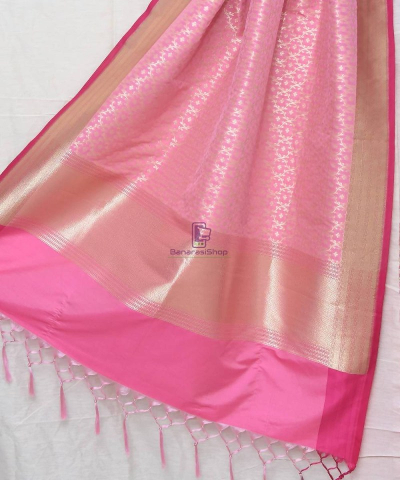 Woven Banarasi Art Silk Dupatta in Light Pink 1
