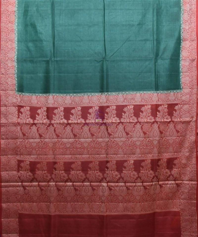 Woven Pure Tussar Silk Banarasi Saree in Dark Green 1