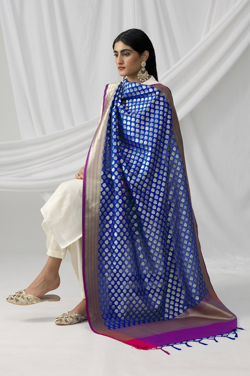 Woven Banarasi Art Silk Dupatta in Royal Blue 3