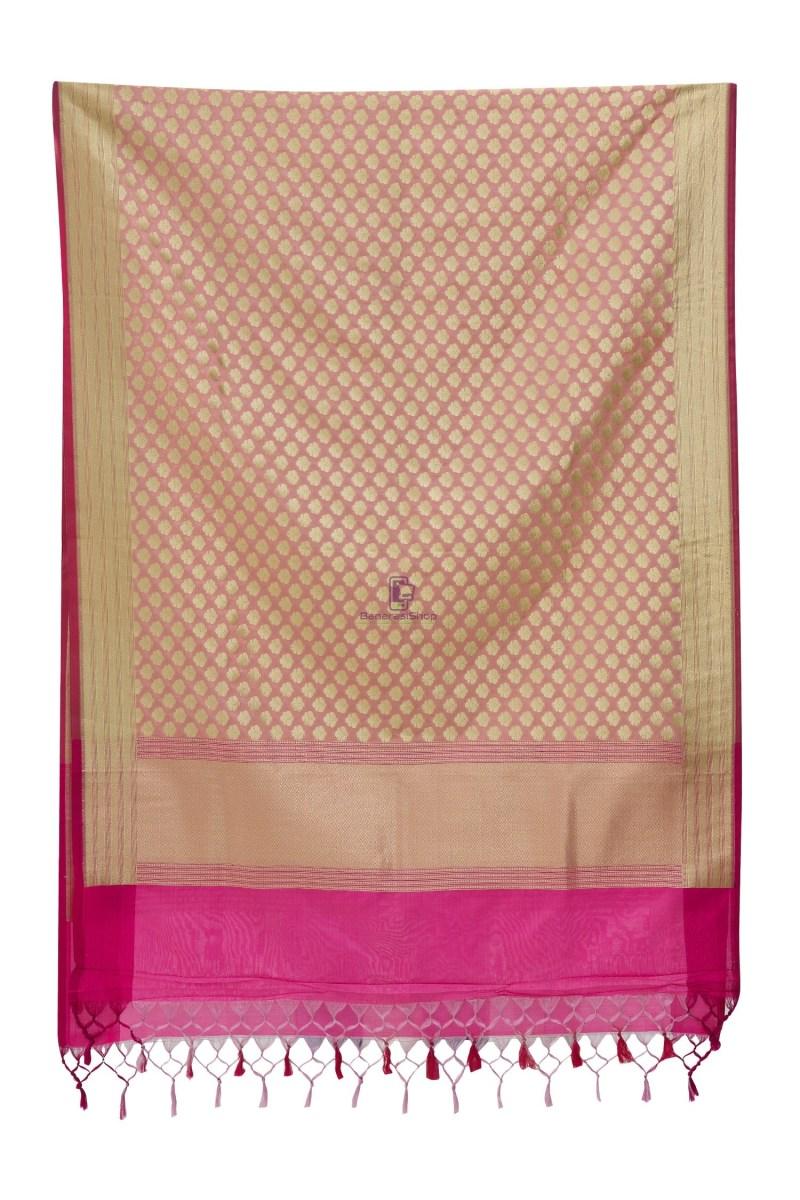 Woven Banarasi Art Silk Dupatta in Pink 4