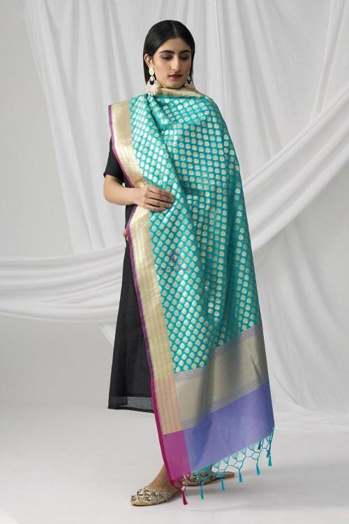 Woven Banarasi Art Silk Dupatta in Teal Blue 5