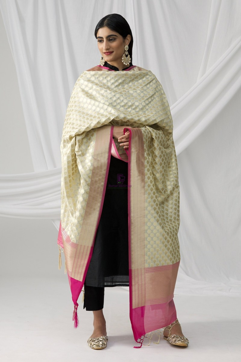 Woven Banarasi Art Silk Dupatta in White 4