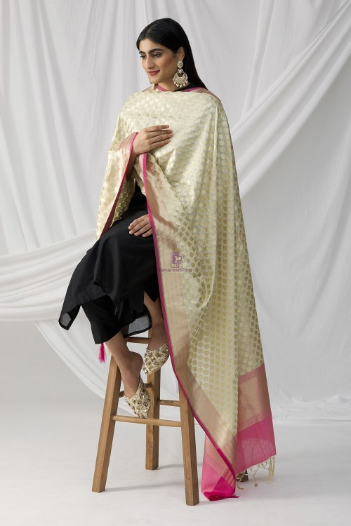 Woven Banarasi Art Silk Dupatta in White 9