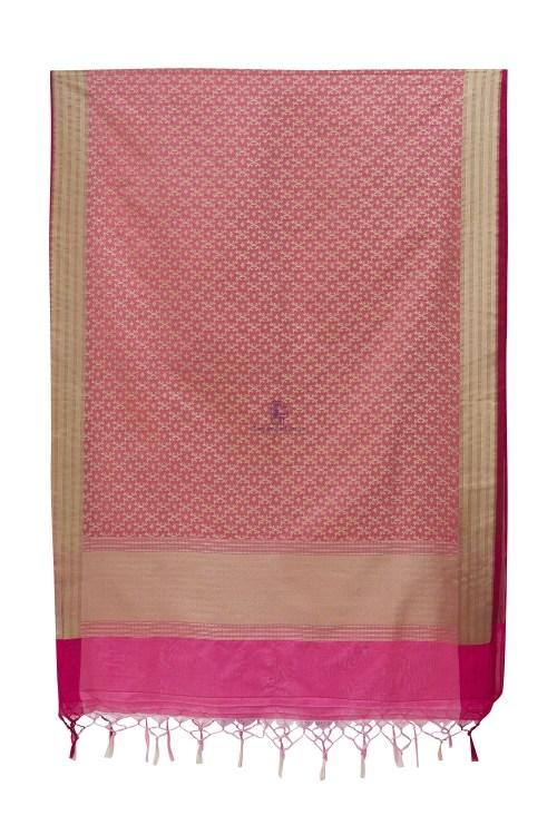 Woven Banarasi Art Silk Dupatta in Pink 7