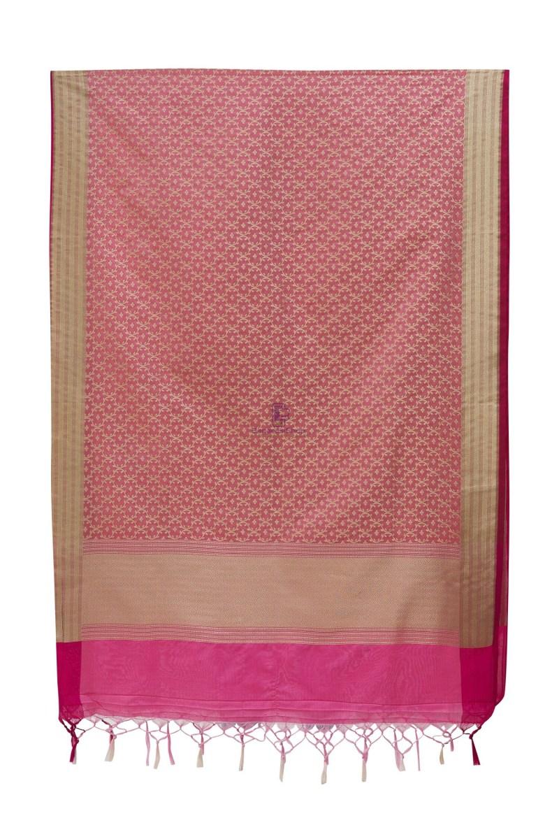 Woven Banarasi Art Silk Dupatta in Pink 3
