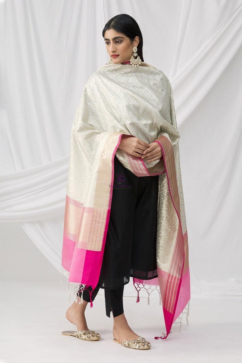 Woven Banarasi Art Silk Dupatta in White 4