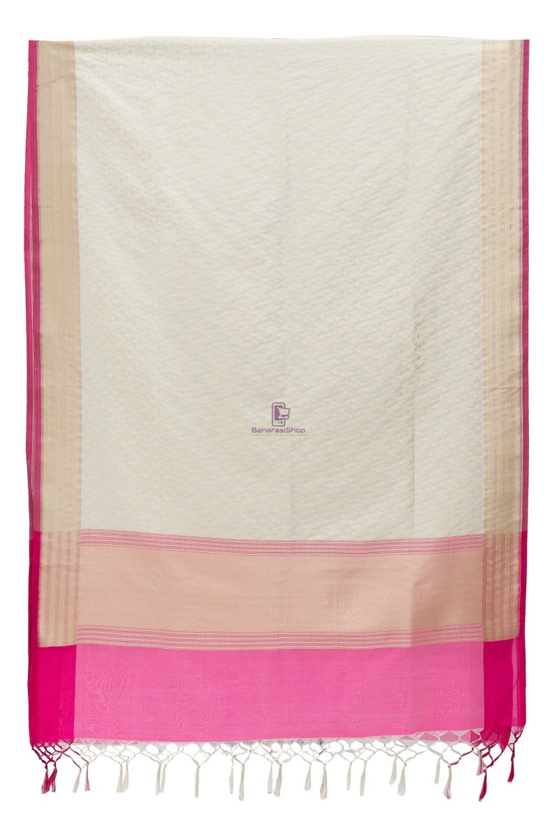 Woven Banarasi Art Silk Dupatta in White 3