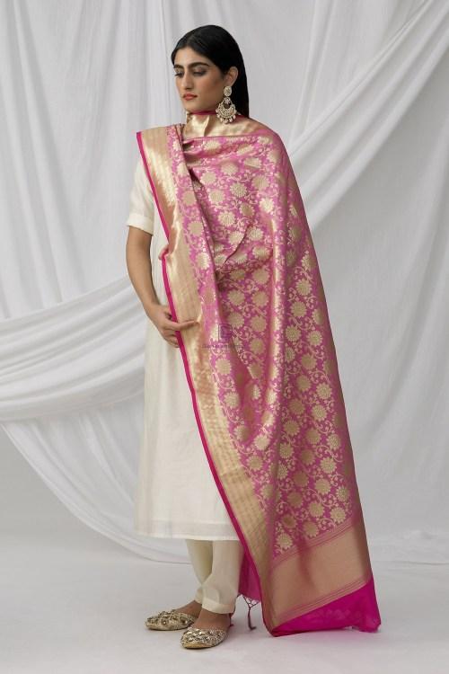 Woven Banarasi Art Silk Dupatta in Pink 9