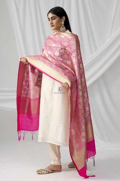 Woven Banarasi Art Silk Dupatta in Pink 8