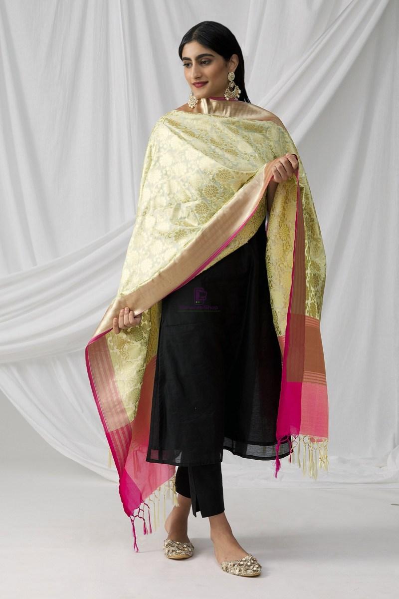 Woven Banarasi Art Silk Dupatta in Beige 4