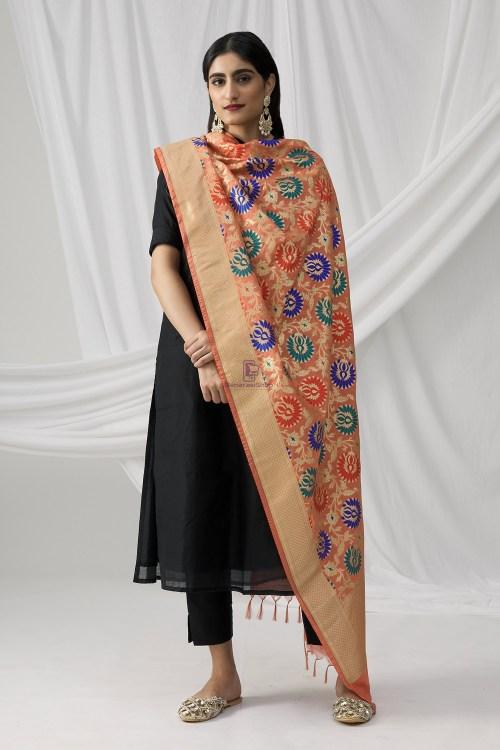 Woven Banarasi Art Silk Kimkhab Dupatta in Peach 9