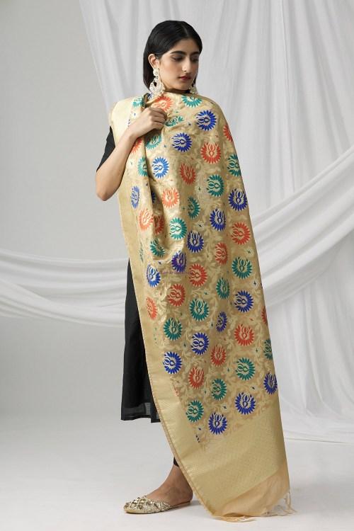 Woven Banarasi Art Silk Kimkhab Dupatta in Beige 9