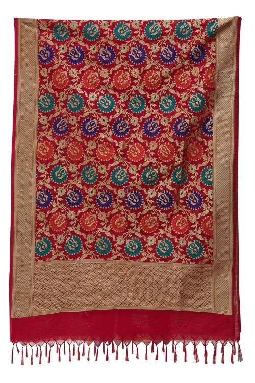 Woven Banarasi Art Silk Kimkhab Dupatta in Red 7