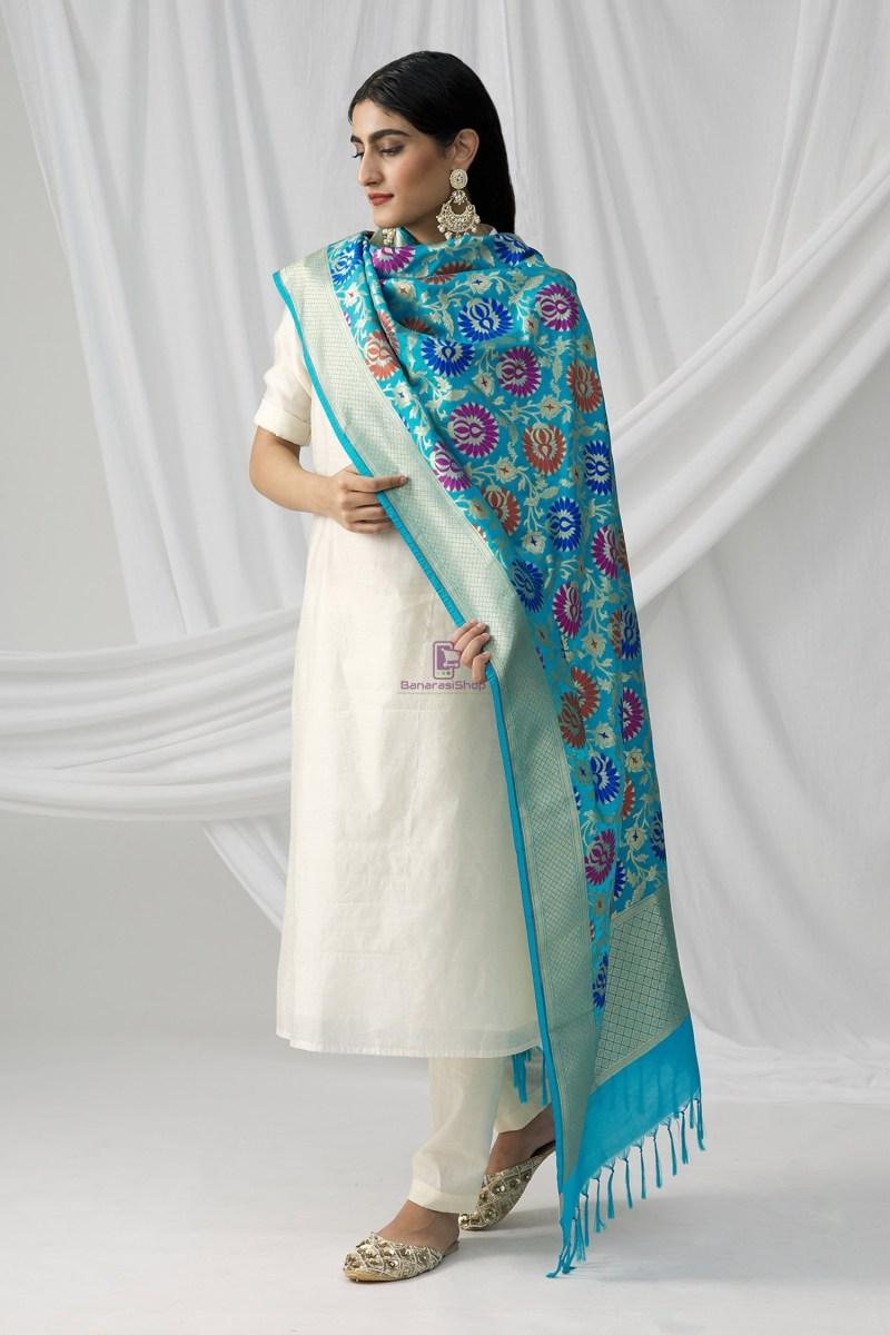 Woven Banarasi Art Silk Kimkhab Dupatta in Sky Blue 4